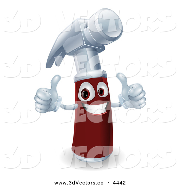 Vector Clipart of a 3d Hammer Holding Two Thumbs up
