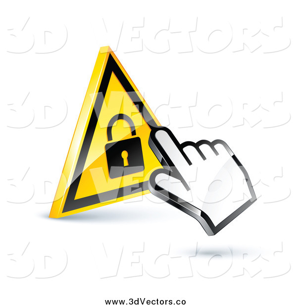 Vector Clipart of a 3d Hand Cursor on a Yellow Lock Button