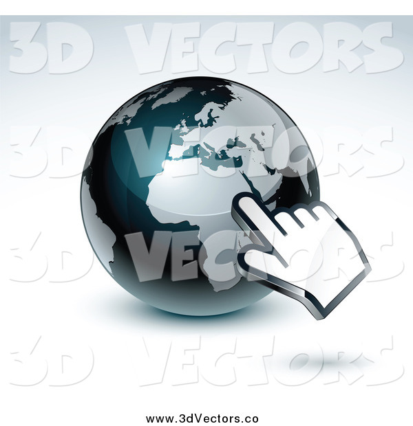 Vector Clipart of a 3d Hand Cursor Pointing at a Gray and Dark Blue African Globe