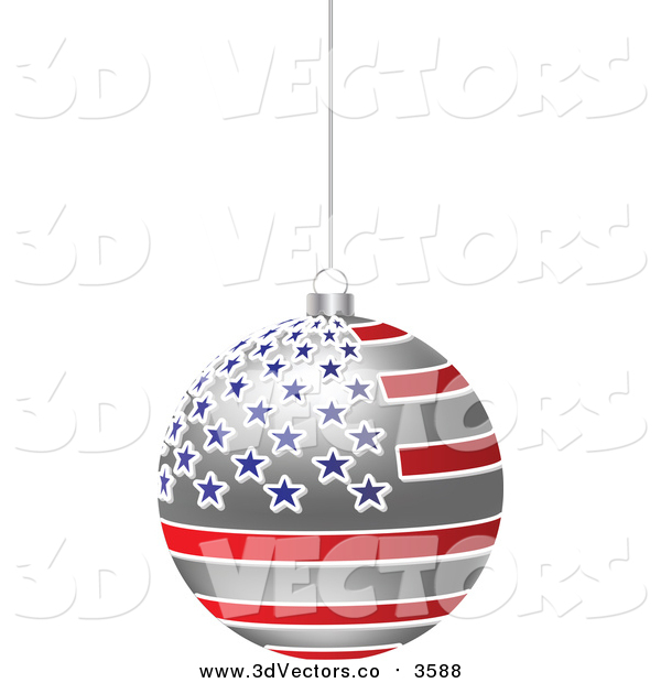 Vector Clipart of a 3d Hanging American Flag Christmas Bauble