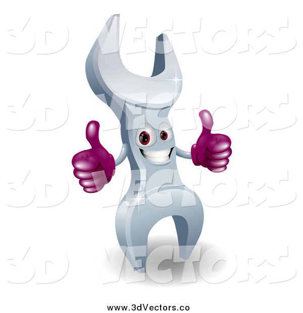 Vector Clipart of a 3d Happy Wrench Character Giving Two Thumbs up