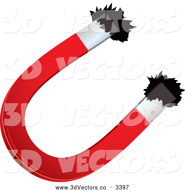 Vector Clipart of a 3d Horseshoe Magnet and Iron Filings