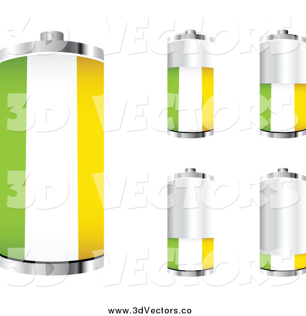 Vector Clipart of a 3d Ireland Flag Batteries Showing Different Charge Levels