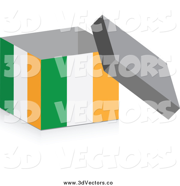 Vector Clipart of a 3d Irish Flag Box with a Shadow