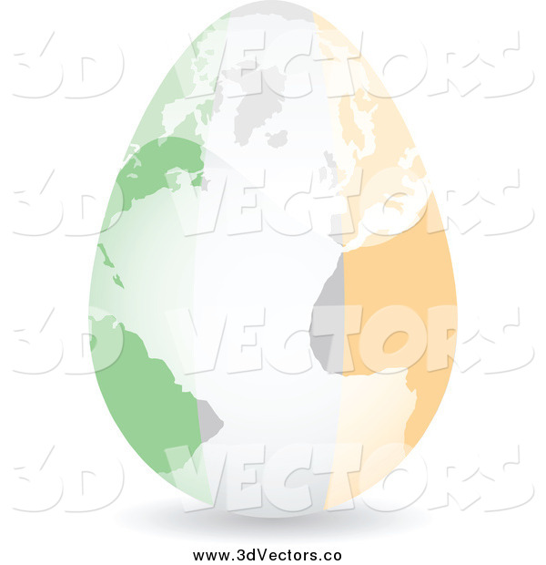 Vector Clipart of a 3d Irish Flag Egg and Map