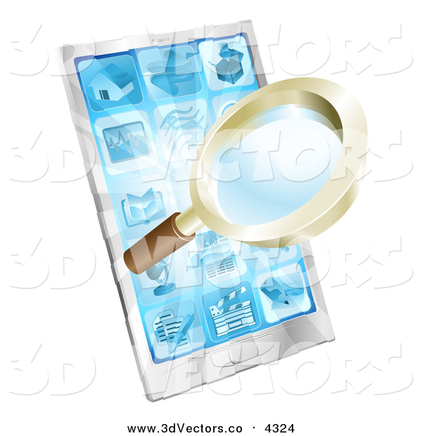 Vector Clipart of a 3d Magnifying Glass Emerging from a Smart Phone