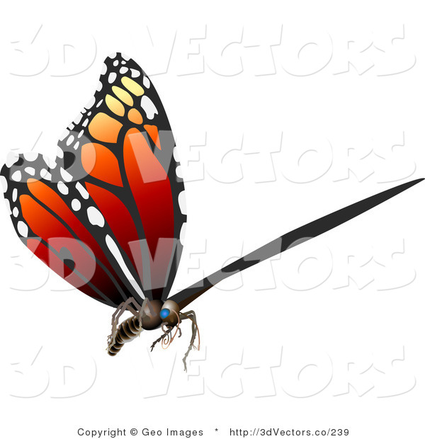 Vector Clipart of a 3D Monarch Butterfly