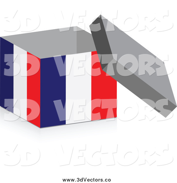Vector Clipart of a 3d Open French Flag Box