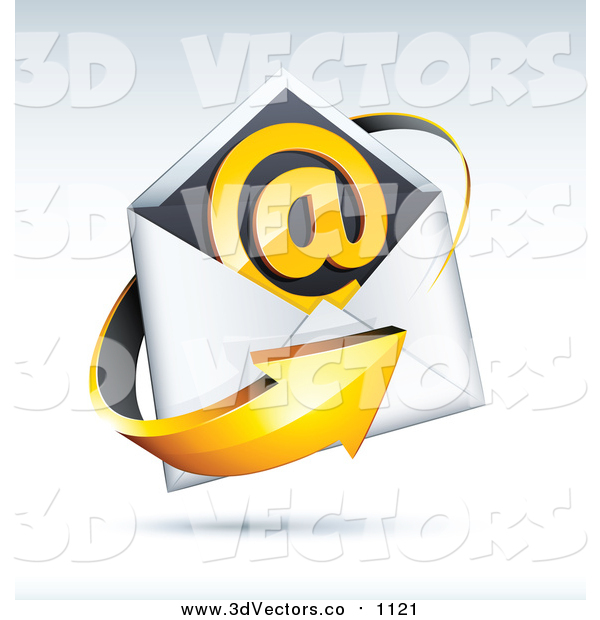 Vector Clipart of a 3d Orange Arrow Around an Envelope and Email at Symbol, on a Shaded Background