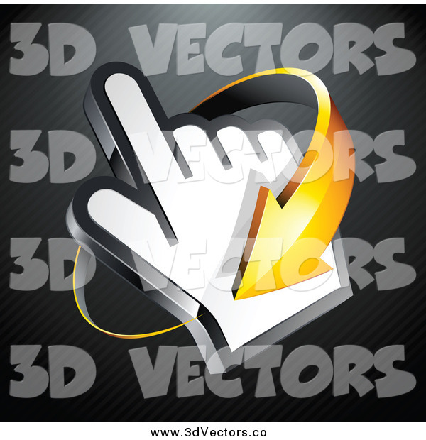 Vector Clipart of a 3d Orange Arrow Circling Around a Hand Cursor, on a Black Lined Background