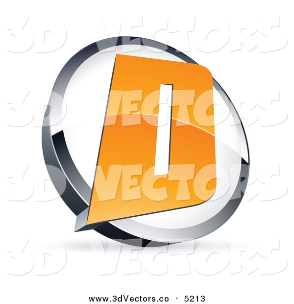 Vector Clipart of a 3d Orange Letter D in a Circle