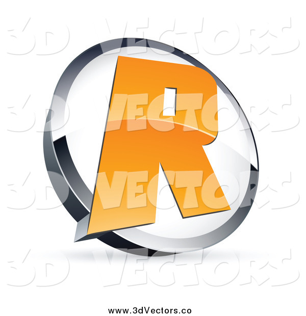 Vector Clipart of a 3d Orange Letter R in a Circle
