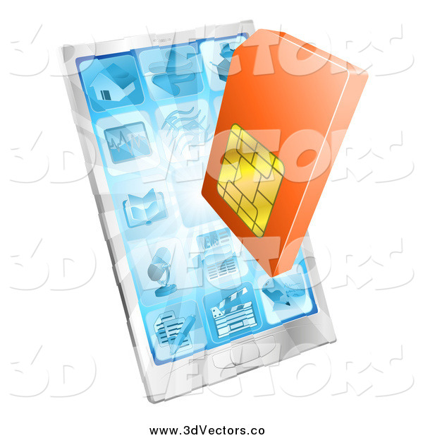 Vector Clipart of a 3d Orange Sim Card and a Smart Phone