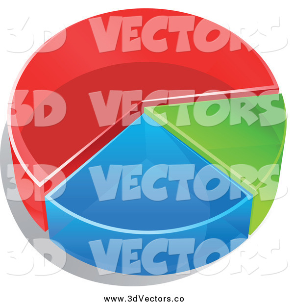 Vector Clipart of a 3d Pie Chart in Thirds, Red, Green and Blue