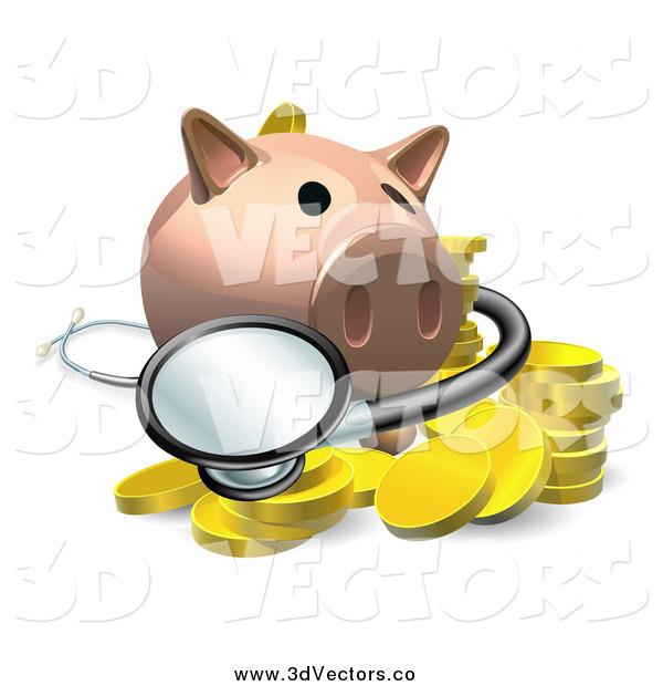 Vector Clipart of a 3d Piggy Bank with a Stethoscope and Gold Coins