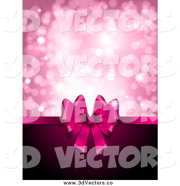 Vector Clipart of a 3d Pink Day Gift Ribbon with Copyspace and Pink Sparkles