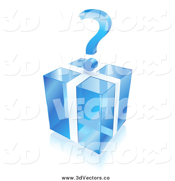Vector Clipart of a 3d Question Mark over a Blue Cube Gift Box
