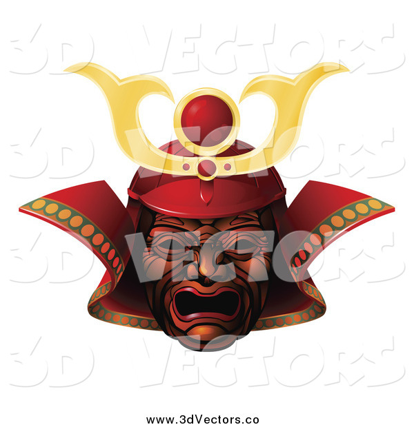 Vector Clipart of a 3d Red and Gold Samurai Mask