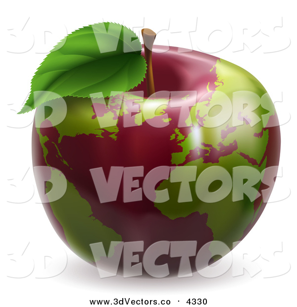 Vector Clipart of a 3d Red Apple Earth Globe with Green Continents