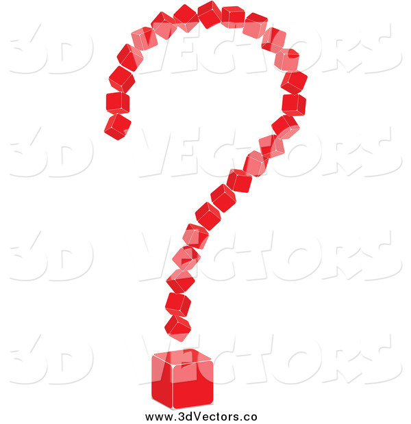 Vector Clipart of a 3d Red Cubic Question Mark