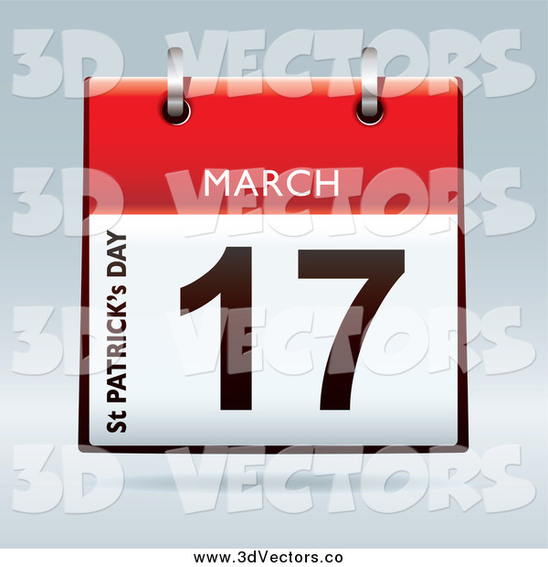 Vector Clipart of a 3d Red St Patricks Day March 17 Desk Calendar