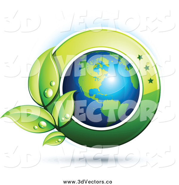 Vector Clipart of a 3d Shiny American Earth with Dewy Green Leaves and a Green Circle