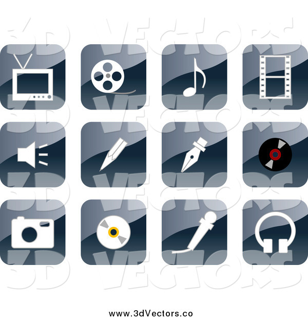 Vector Clipart of a 3d Shiny Website Icons