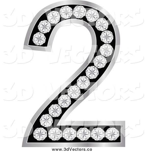 Vector Clipart of a 3d Silver and Diamond Number Two