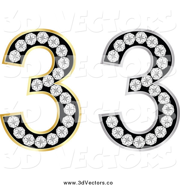 Vector Clipart of a 3d Silver and Gold Diamond Number Threes