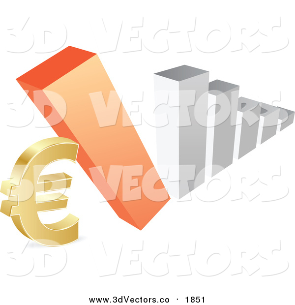 Vector Clipart of a 3d Silver and Orange Bar Graph Falling down on a Euro Symbol