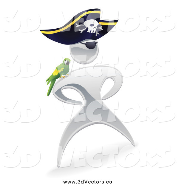 Vector Clipart of a 3d Silver Captain Pirate Man with a Parrot