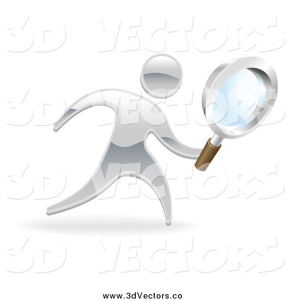 Vector Clipart of a 3d Silver Man Searching with a Magnifying Glass