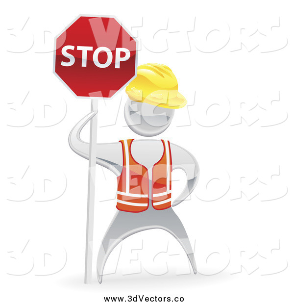 Vector Clipart of a 3d Silver Road Construction Worker with a Stop Sign