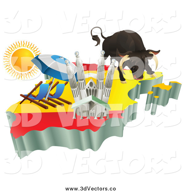 Vector Clipart of a 3d Spanish Tourist Attractions on a Flag Map of Spain