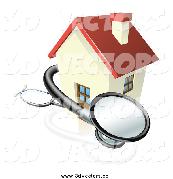 Vector Clipart of a 3d Stethoscope Around House