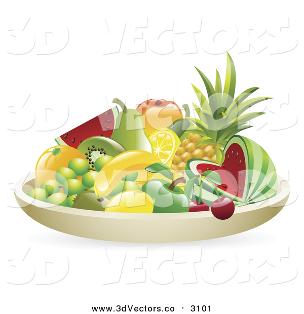 Vector Clipart of a 3d Still Life Bowl of Tropical Fruit