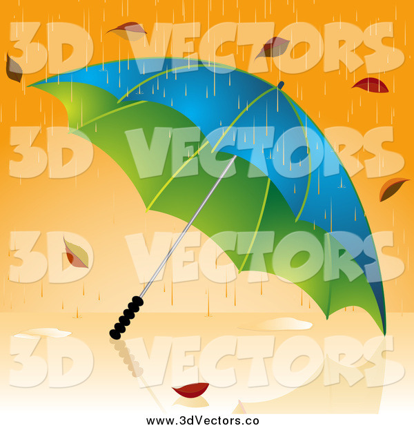 Vector Clipart of a 3d Umbrella Pounded with Rain and Autumn Leaves