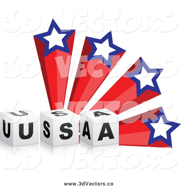 Vector Clipart of a 3d USA Blocks and American Shooting Stars