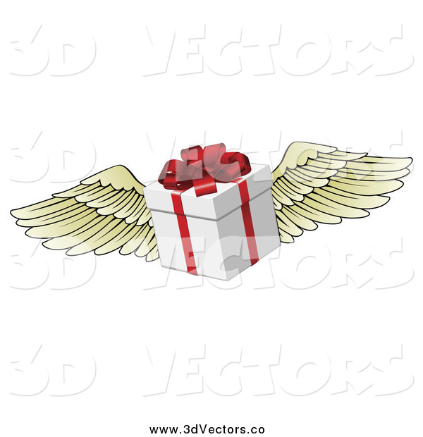 Vector Clipart of a 3d Winged Gift Box