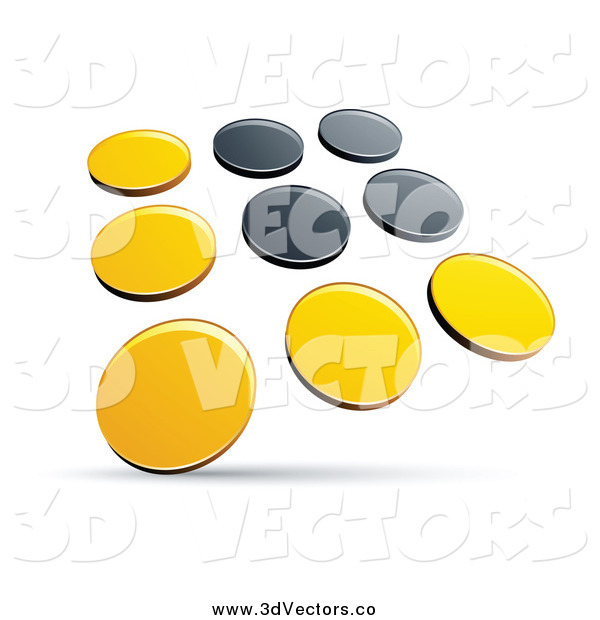 Vector Clipart of a 3d Yellow and Black Dots Panel