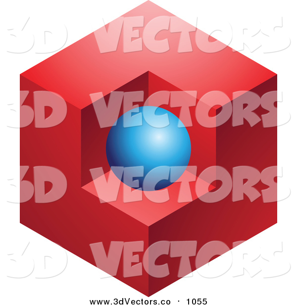 Vector Clipart of a Abstract 3dBlue Sphere and Red Cube Logo Icon