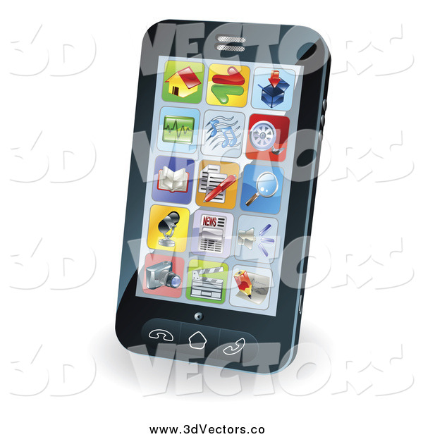 Vector Clipart of a App Icons on a 3d Smart Phone Screen