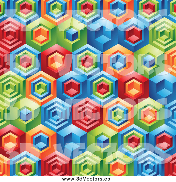 Vector Clipart of a Background of 3d Colorful Geometric Shapes