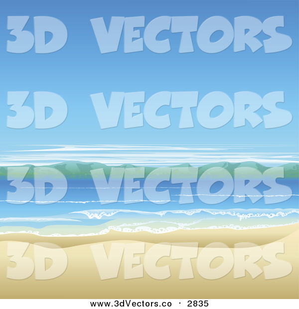 Vector Clipart of a Beautiful Ocean Landscape with White Sand