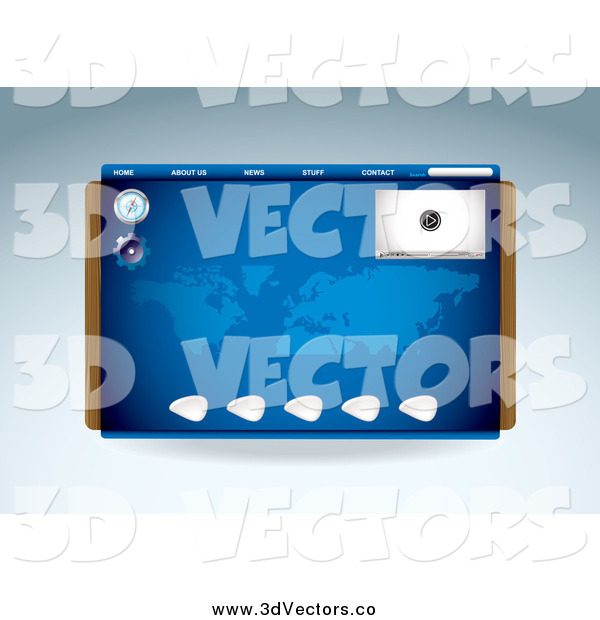 Vector Clipart of a Blue Media Player Compass and Map Website Template