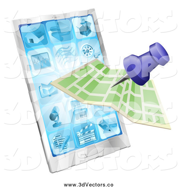 Vector Clipart of a Map and Pin over a Smart Phone