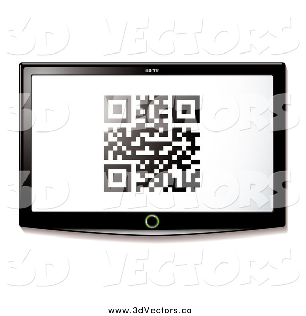 Vector Clipart of a Qr Code on a 3d TV Screen