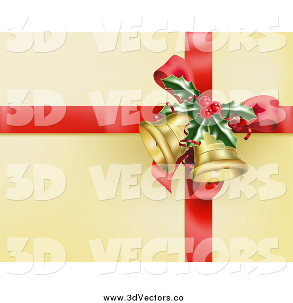 Vector Clipart of a Red Ribbon with Holly and Christmas Bells on Gold Wrapping Paper