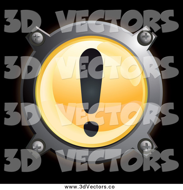 Vector Clipart of a Round Chrome and Orange Exclamation Point Icon on Black