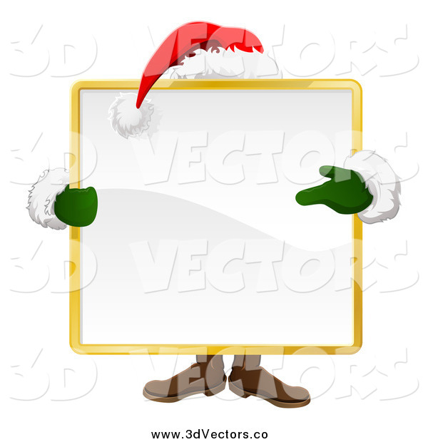 Vector Clipart of a Santa Behind a Large Square Sign